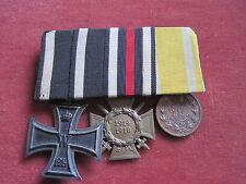 Original Sachsen 3er Ordensspange mit Eisernes Kreuz,Ehrenkreuz und FAM bronze