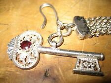 Silber Biedermeier Uhrkette Filigran Schlüssel Lederhose Oktoberfest Uhrkette
