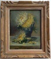 Tableau ancien Impressionniste Bouquet de Dahlias Huile proche Kees TERLOUW