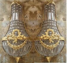 Pair Hand Beaded French Empire Sconces Crystal Brass Lights Clear Beads Lampwork