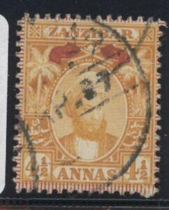 ZAN Queen Victoria Zanzibar 4.5a Orange stamp (SG165) dated 1896