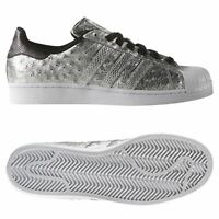 adidas ORIGINALS MEN'S SUPERSTAR TRAINERS SILVER SHOES SNEAKERS RARE SNAKESKIN