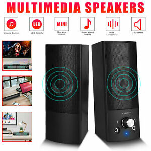 Wired USB Computer Speaker 3.5mm Soundbar Stereo Bass Audio Player for PC Laptop