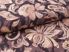 0,5 m Vintage, 100% Baumwolle Stoff, Rosen Barock Still, Braun Gold Beige, Edel