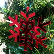 Red Mirror Crystal Snowflake Christmas Tree Decorations & Green Ribbon x 10