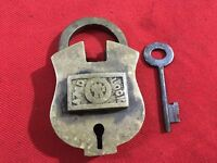 An old antique brass solid unusual shaped AZAD LOCK padlock with key