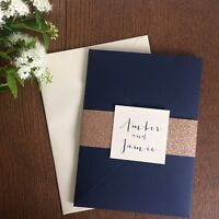 1 Navy pocket wedding invitation/RSVP/menu 'Amber' sample with gold glitter wrap