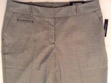 Worthington Womens Dress Ankle Pant Modern Fit Slim Leg Gray Black Dot  8L Long