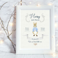 Personalised A4 Print,New Baby,Peter Rabbit,Family Gift,Wall Art,-NO FRAME