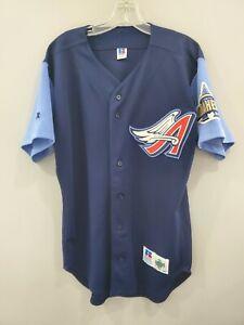 Rare VTG Russell Diamond Co Authentic Anaheim Angels Blue Jersey 44 L Disney Era