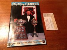 PITTSBURGH PENGUINS ICE TIME MAGAZINE NHL OCT 5 1996 WITH TICKET VS TAMPA BAY