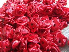 20 Scarlet Satin Ribbon Roses Embellishment 15mm Wedding Sewing Card DressFabric