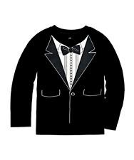 Boys Okie Dokie Long Sleeve Tuxedo Print Shirt Sz S 4 Black Cotton/Poly New