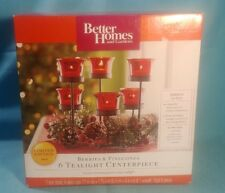 Berries and Pinecones Tealight Candle Centerpiece Holiday Christmas wreath pine