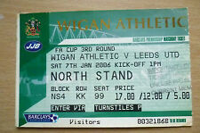 2006 FA Cup 3rd ROUND Ticket- WIGAN ATHLETIC v LEEDS UNITED, 7 January