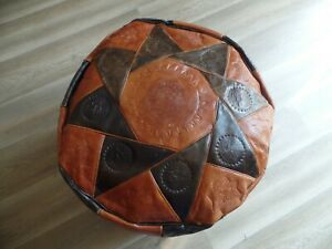 VINTAGE HANDMADE MOROCCAN LEATHER POUFFE FOOTSTOOL STOOL UNIQUE