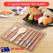 DIY Bamboo Sushi Making Kit 1 Rolling Mats 5 Pairs Chopsticks Rice Spreader Set