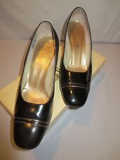 Vtg Black Patent Leather Heels Pumps Neiman Marcus David Evins Italy Sz 8 1/2 B
