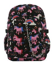 PINK UNICORN Black Rainbow Backpack Rucksack School College Goth Emo Skull Bag