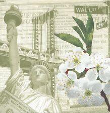 2 Serviettes en papier New York Statue Liberté Fleurs - Paper napkins Liberty