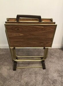 VINTAGE Mid Century Set of 3 FAUX WOOD METAL TV Snack Tray Tables w/ Stand MCM