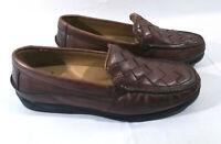 Dockers Mens Basket Weave Brown Leather Loafer Shoes Sz 10.5 M EUC