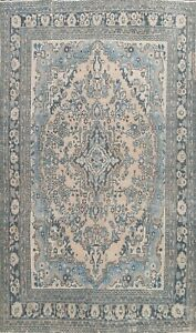 Vintage Floral Muted Traditional Area Rug Distressed Hand-knotted Oriental 7x10