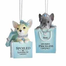 "Grey White Dog Blue Gift Box Bag Present Christmas 3"" Ornament Set 2 Kurt Adler"