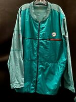 MIAMI DOLPHINS GAME USED THROWBACK LOGO FULL ZIP TRAVEL JACKET DRI-FIT SIZE 4XL