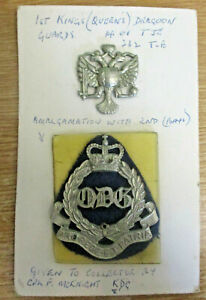 1st Queen's Dragoon Guards cap badge & Q.D.G.s Arm Badge