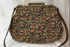 Vtg Floral Tapestry Fabric Frame Purse Clutch Leather Strap Blue Green Red Brown