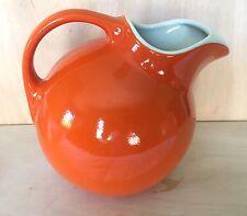 Vintage Hall's Superior BALL PITCHER JUG Kitchenware  Orange/white Ice Lip 64oz