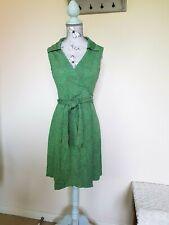 Diane Von Furstenberg Vintage Green Heart Print Silk Wrap Dress US 6 UK 10