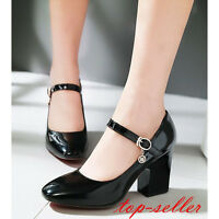 Women Block High Heel Patent Leather Ankle Strap Mary Jane Party Sweet Shoes New