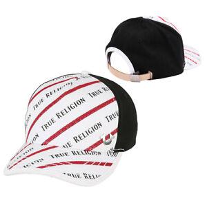 True Religion Men's Diagonal Stripe Logo Baseball Cap Sports Strapback Hat