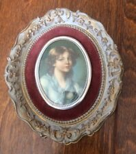 "Vtg Framed Mini CAMEO CREATION Oval Portrait  5.5"" Young Lady"