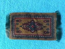 "1910's Cigarette Tobacco Felt Rug w/Fringe - 2"" X 4""  green red brown dollhouse"