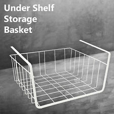 White Under Shelf Storage Basket Table Rack Kitchen Metal Wire Mesh Cabinet