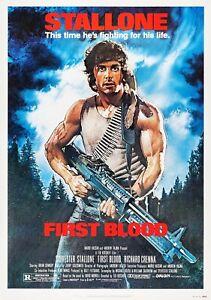 Erste Blut Rambo Klassisch 80's Vintage Filmplakat Wand Film Kunstdruck Stallone