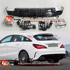 AMG Rear Bumper Diffuser+Exhaust End Tip for 13-17 M-Benz W117 CLA 200 220 260