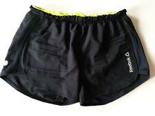Womens REEBOK Speedwick Black Running Shorts Reflective with inner brief Size XS