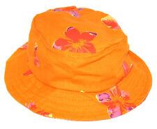 616fd79e204 Hawaiian Hibiscus Print Orange Pink Bucket Hat 100% Cotton Size  58cm NEW