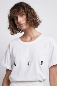 BNWT **Aje** Ladies Bianca Tee Shirt Oversized S/Sleeve Logo T-shirt Jersey XS-L