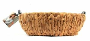 """Cravings By Chrissy Teigen Water Hyacinth Round Basket with Wood Handles 14.25"""""""