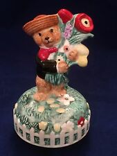 """Porcelain courting bear figurine music box plays tune""""Let me be Your Teddy Bear"""""""