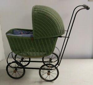 24x21x9inch Lloyd Loom Products 1917 Wicker Doll Preambular Baby Buggy Pram NICE