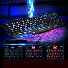 Multimedia 3Colors LED Illuminated Ergonomic USB Backlight Wired Gaming Keyboard