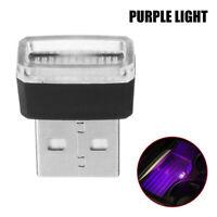 1x Purple Mini USB LED Wireless Lamp Car Atmosphere Light Neon Accessories