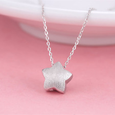 925 Sterling Silver Girls Chubby Puffy 3D Star Pendant Charm Chain Necklace
