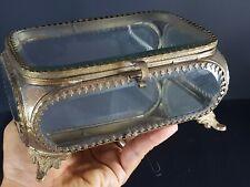 Grande boite à bijoux laiton et verre biseauté Jewel box beveled glass Antique